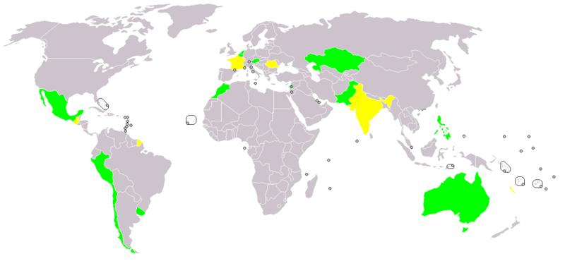1979 m. tarptautinės Mėnulio sutarties geografija: žalia spalva pažymėtos valstybės, pasirašiusios arba ratifikavusios Mėnulio sutartį, geltona – tik pasirašiusios valstybės