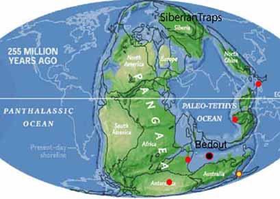 Taip Žemė atrodė iki Permo-Triaso katastrofos. Juodu tašku pažymėtas katastrofos epicentras. Kas ją sukėlė – susidūrimas su kosminiu kūnu ar nepaprastai galingas ugnikalnio išsiveržimas – dar aiškinamasi ©crystalinks.com