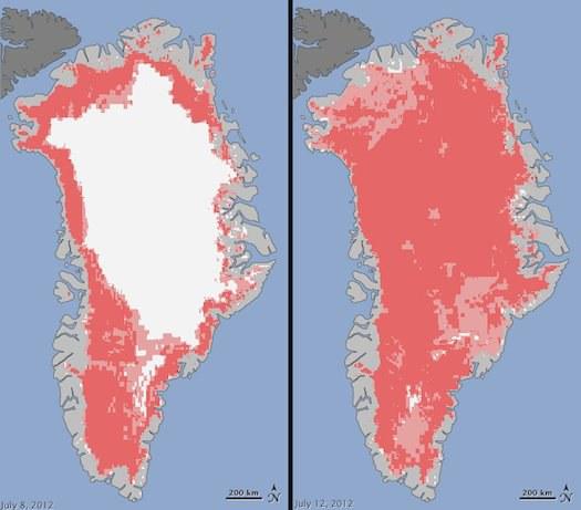 Rekordiniai vasaros karščiai šiemet ištirpdė 97 proc. Grenlandijos ledynų ©Jesse Allen, NASA Earth Observatory and Nicolo E. DiGirolamo, SSAI and Cryospheric Sciences Laboratory