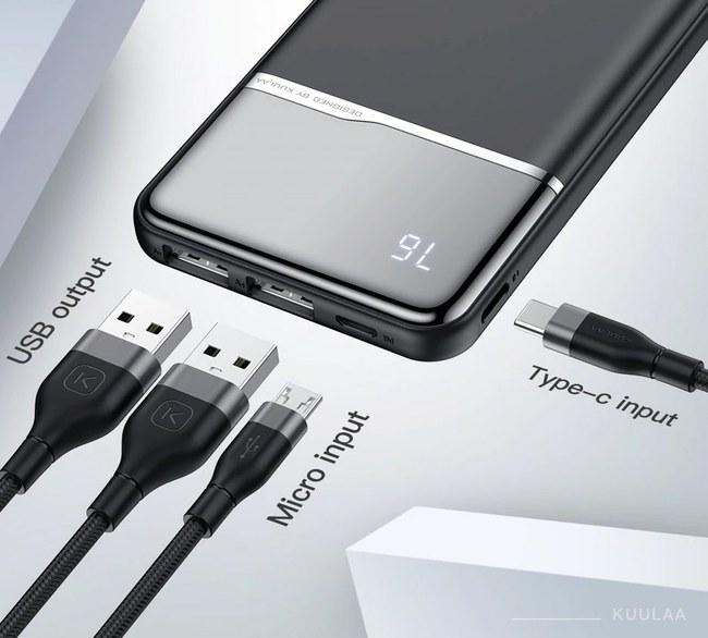 """Kainuoja vos 11€, o prietaisus gali įkrauti net 3A srove: praktiškai išbandė perkamiausią 10 000 mAh talpos išorinę bateriją iš AliExpress – kaip veikia, kaip įkraunama ir kaip pati krauna (""""KUULAA"""" baterijos apžvalga, Video, kuponai, išparduodami Lenkijos sandėlio likučiai 2021-04-20)"""